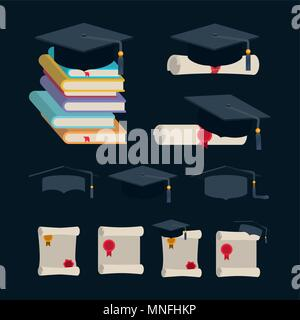 graduation celebration set icons - Stock Photo