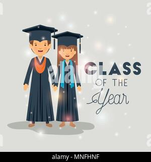 couple of graduates class of the year characters - Stock Photo