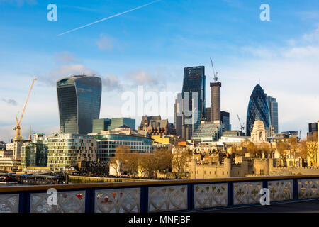 City of London, Financial Services Companies headquarters, The Leadenhall Building, The Gherkin view from south side over Tower Bridge and Tower Hill  - Stock Photo