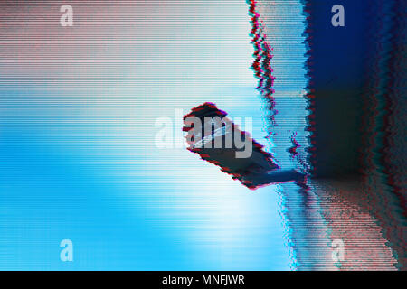 Surveillance camera with digital glitch effect and blank copy space - Stock Photo