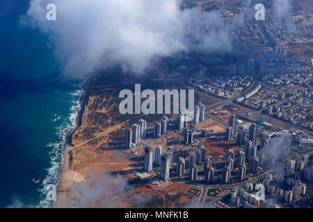 Aerial view of the southern suburbs of Netanya a city in the Sharon plain along the Mediterranean coast in Israel - Stock Photo