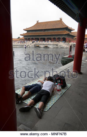 Crowd, people and Chinese tourists at the Forbidden City in Beijing, China, Asia. Travel, holidays and tourism - Stock Photo