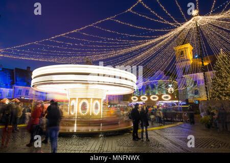 Sibiu Christmas Market in the main square. Transylvania, Romania. - Stock Photo