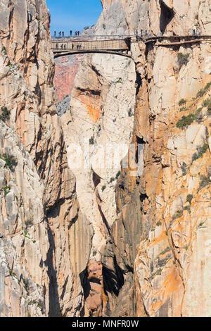Caminito del Rey, Gorge of the Gaitanes (Desfiladero de los Gaitanes), Álora, Málaga, Andalusia, Spain, Europe - Stock Photo
