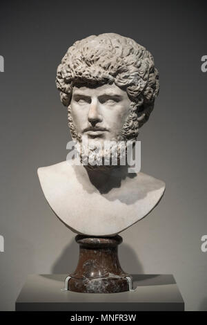 Berlin. Germany. Portrait bust of Roman Emperor Lucius Verus, Marble, 160-170 AD, Altes Museum.  Lucius Verus (Lucius Aelius Aurelius Commodus) was th - Stock Photo