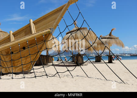 Mallorca , Port de Pollenca, beach with playground, a climbing rope for children - Stock Photo
