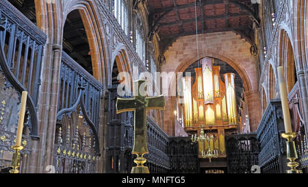 Brass cross panorama, on Manchester Cathedral altar, lancashire, England, UK - Stock Photo