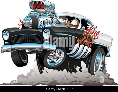 Classic American Fifties Style Hot Rod Funny Car Cartoon with Big Engine, Flames, Smoking Tires, Popping a Wheelie, Vector Illustration - Stock Photo