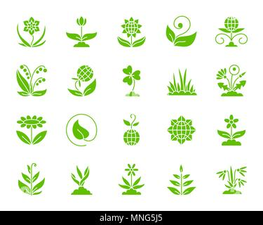Garden silhouette icons set. Isolated web sign kit of flower. Plant monochrome pictogram collection includes sprout, growth, seedling. Simple garden s - Stock Photo