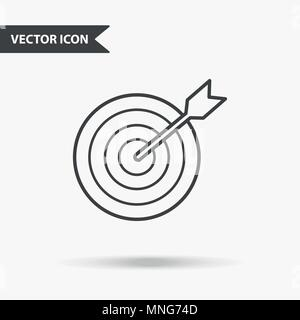 Simple vector illustration of a darst target with an arrow. Flat image with thin lines for application, presentation, website, business presentation,  - Stock Photo