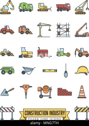 Industrial construction machinery and tools filled line icon collection - Stock Photo