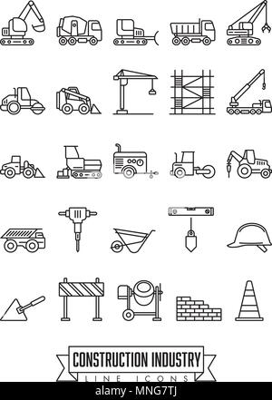 Industrial construction machinery and tools line icon collection - Stock Photo