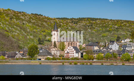 The old wine-growing village, of Lorch Germany is situated at the opening of the Wispertal valley into the Rhrine Valley. - Stock Photo