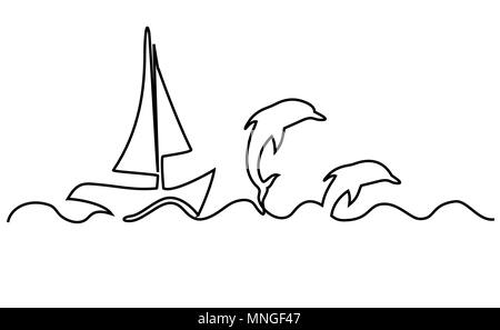 Sailing boat one line drawing - Stock Photo