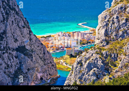 Town of Omis view through Cetina river Canyon, Dalmatia region of Croatia - Stock Photo