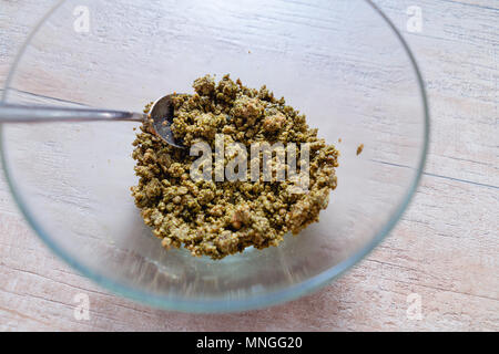 Chocolate Chunk Matcha Green Tea Cookie Dough, wooden table - Stock Photo