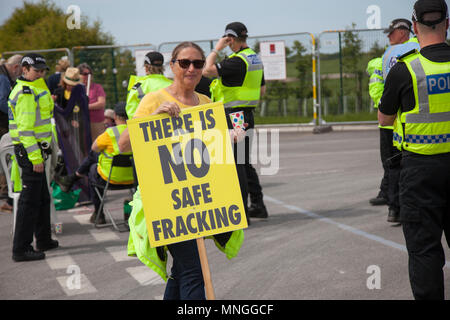 Protests continue at the Caudrilla shale gas exploration site at Preston New Road, near Little Plumpton. The company has completed the first ever horizontally drilled well in shale ready for test fracking to begin later this year. The company has completed the first horizontally drilled well in shale ready for test fracking later this year. - Stock Photo