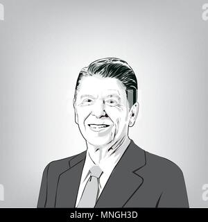 Ronald Wilson Reagan(1911-2004), 40th President of the United States,vector image of Ronald Reagan. - Stock Photo