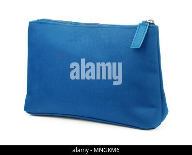 Blue cosmetic bag isolated on white - Stock Photo