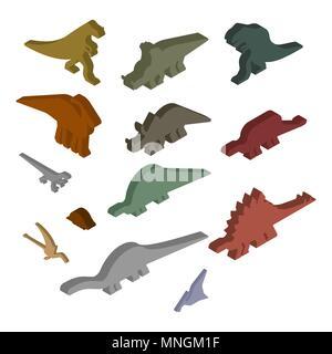 Dinosaur Isometric Set. Ancient animal. Diplodocus and Stegosaurus, Pterosaur. Ankylosaurus and triceratops. Styracosaurus and Iguanodon, Apatosaurus. - Stock Photo