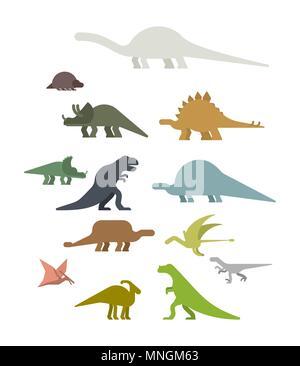 Dinosaur Set. Ancient animal. Diplodocus and Stegosaurus, Pterosaur. Ankylosaurus and triceratops. Styracosaurus and Iguanodon, Apatosaurus. Tyrannosa - Stock Photo