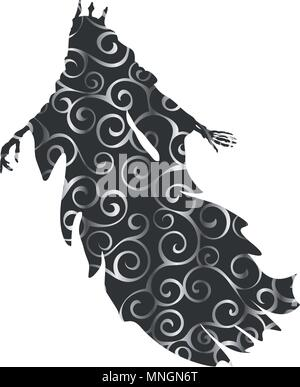 Ghost King pattern silhouette scary monster fantasy - Stock Photo