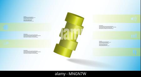 3D illustration infographic template with motif of horizontally sliced cylinder to five color parts which are askew arranged. Simple sign and text is  - Stock Photo