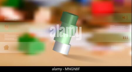 3D illustration infographic template with motif of horizontally sliced cylinder to four green parts which are askew arranged. Simple sign and text is  - Stock Photo