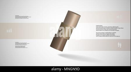 3D illustration infographic template with motif of horizontally sliced cylinder to three brown parts which are askew arranged. Simple sign and text is - Stock Photo
