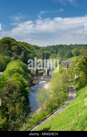 River Swale at Green Bridge Richmond, Yorkshire. - Stock Photo