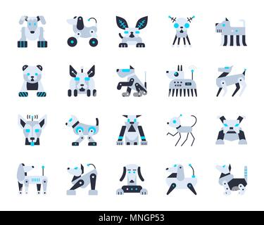 Robot Dog flat icons set. Web sign kit of pet. Cute Character pictogram collection includes transformer, machine, cyborg. Simple robot dog cartoon col - Stock Photo