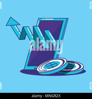 smartphone with financial arrow and coins over blue background, colorful design. vector illustration - Stock Photo