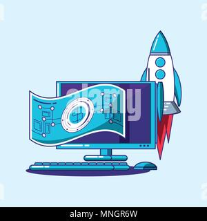 Fintech design with computer with rocket and money bill over blue background, colorful design. vector illustration - Stock Photo