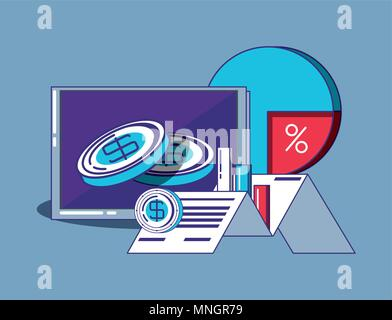 computer and fintech related icons over blue background, colorful design. vector illustration - Stock Photo