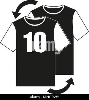 Black and white soccer player replacement icon - Stock Photo