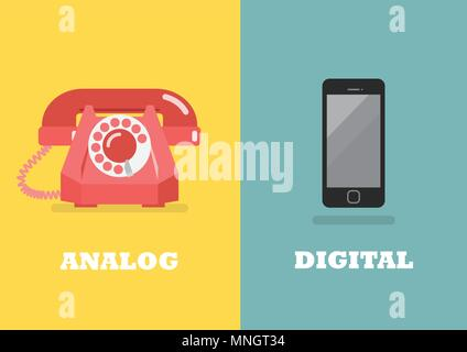Retro phone in Analog Age and modern phone in Digital Age. Vector illustration - Stock Photo