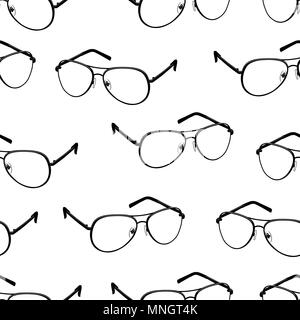 Glasses seamless pattern, monochrome vector background, black and white illustration. Outline contour drawing flat black spectacles on white background. For fabric design, wallpapers, print - Stock Photo