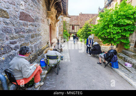 France, Lot, Quercy, Dordogne Valley, Loubressac, labelled Les Plus Beaux Villages de France (The Most beautiful Villages of France), street in the me - Stock Photo