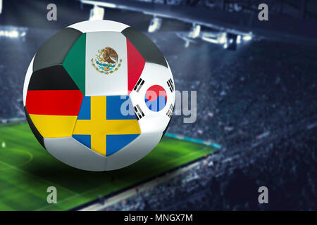 Football Cup group F in Russia: Germany, Mexico, Sweden, South Korea - Stock Photo