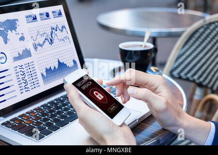 Security breach warning on smartphone screen while using public wifi hotspot, device infected by internet virus or malware after cyberattack, fraud al - Stock Photo