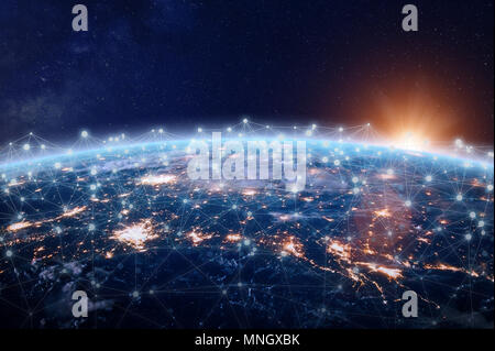 Global world telecommunication network connected around planet Earth, concept about internet and worldwide communication technology for finance, block - Stock Photo