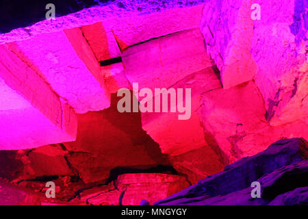 Gypsum cave, anhydrite, sulfate, Anhydrite rocks from cave ceiling, gypsum cave, anhydrite, sulfate, carbonate minerals. Kungur cave, artificial light - Stock Photo