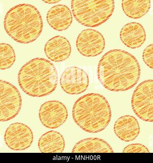 Seamless pattern with scratched oranges. Endless texture, harvest fruit background. Dessert vector backdrop. Cut tangerines and oranges. Vector. Patte - Stock Photo