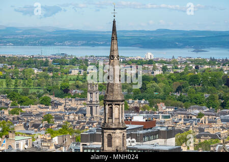 View of St Andrew's and Saint George's West Church steeple in the New Town in Edinburgh, Scotland, United Kingdom, UK - Stock Photo
