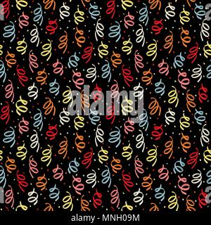 Spiral confetti for holiday design. Birthday pattern with a colorful confetti. Seamless pattern for wallpaper, web page background, surface textures.  - Stock Photo