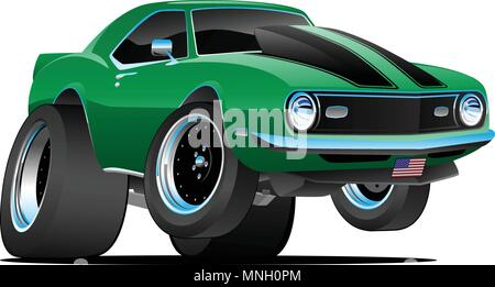 Classic Sixties Style American Muscle Car Cartoon Vector Illustration - Stock Photo
