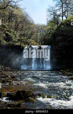 The Four Waterfalls Walk near Pontneddfechan in the Brecon Beacons - the the Sgwd yr Eira falls (Falls of Snow) on the River Hepste - Stock Photo
