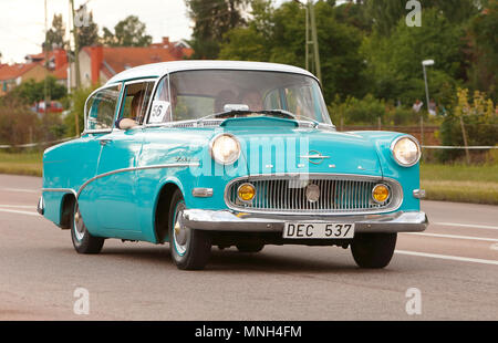 Vasteras, Sweden - July 5, 2013: One blue Opel Record 1958 during cruising parade at the Power Big Meet event. - Stock Photo
