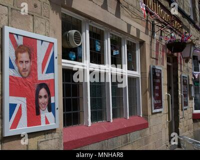 Buxton. Derbyshire. UK. 17th May. 2018. Miltons Head public house puts out the bunting to celebrate the royal wedding between Prince Harry and  Meghan Markle on the 19th. Credit: John Fryer/Alamy Live News - Stock Photo