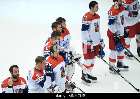 Czech team react after the Ice Hockey World Championships quarterfinal match USA vs Czech Republic in Herning, Denmark, May 17, 2018. (CTK Photo/Ondrej Deml) - Stock Photo